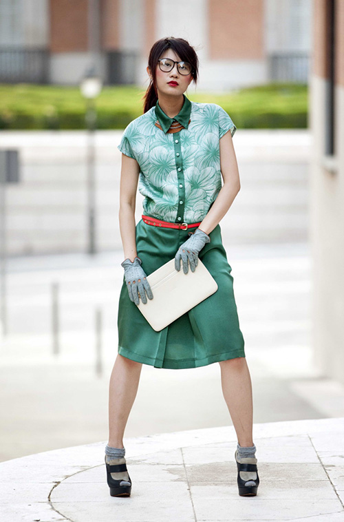 Green leaves skirt and green shirt